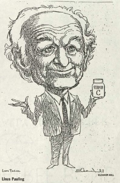 Caricature of Linus Pauling created by Eleanor Mill and published in the Philadelphia Inquirer, May 1992.