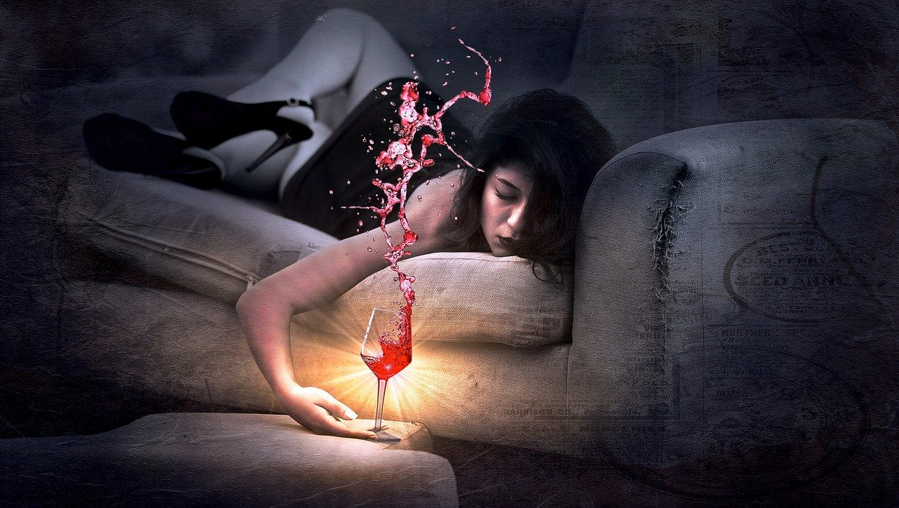 couch, red wine, girl